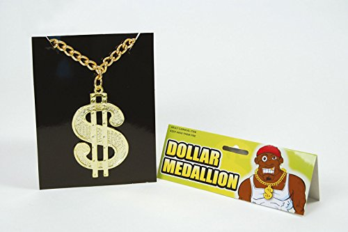 Dollar Medallion on Chain Gold Necklace Pimp 70s Pirates Gangster Fancy ()