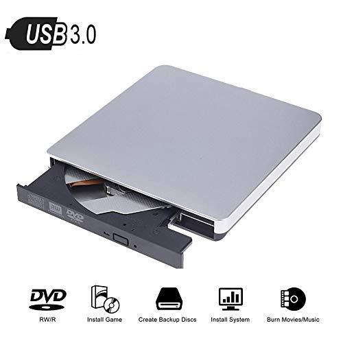 LXIANGP USB3.0DVD-Brenner mit externem Brenner Externes CD/DVD-RW-Laufwerk Universeller externer Support Window2000 / XP / 2003 / Vista / WIN7 / WIN8 / WIN10 / Linux/Mac 10 OS-System Silberweiß