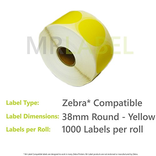 Cheap 50000x Zebra Compatible Coloured Thermal Labels (50 Rolls of 1000) 38mm Round – Yellow on Amazon