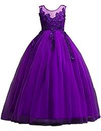Vestido de Fiesta Niñas Cordón Boda Princesa Vestidos de Novia Cóctel,Lonshell Vestido de Boda