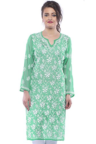 ADA Handmade Lucknow Chikankari Regular Wear Faux Georgette Kurti Kurtas A229644 (XX-Large)