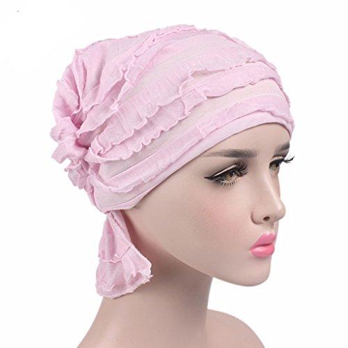 Und Krebs, Mützen Schals (Haorw Damen Krebs Chemo Make-up Hut Falten Stretch Schal Turban Mützen (rosa))