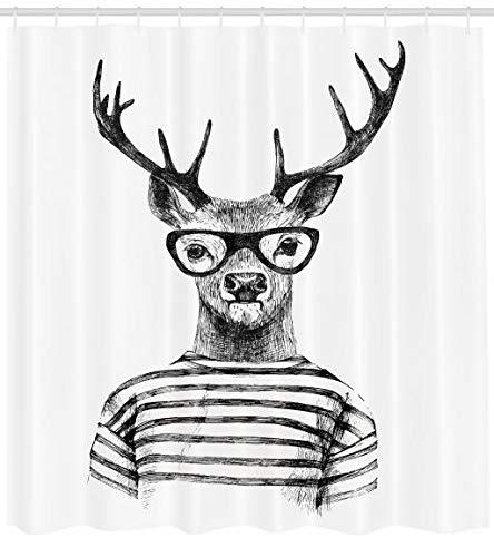 ABAKUHAUS Hirsch Duschvorhang, Rentier Kopf menschlicher Hipster, Moderner Digitaldruck mit 12 Haken auf Stoff Wasser und Bakterie Resistent, 175 x 200 cm, Holzkohle grau weiß