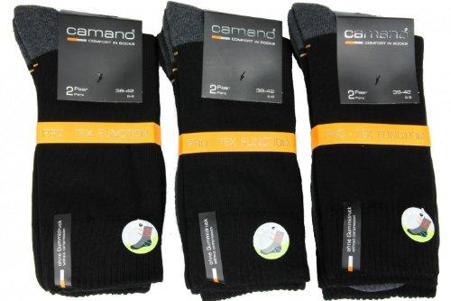 6 Paar Camano Pro -- Tex Function Sport / Trekking / Wander Socken Socks unisex Schwarz Grau