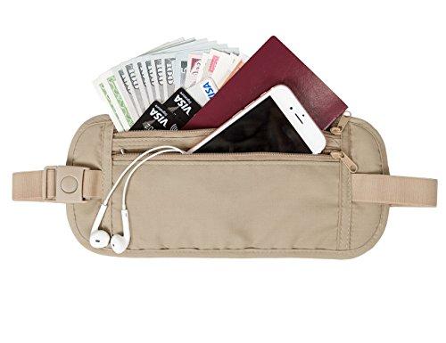BAGSMART Marsupio Custodie per Carte di Credito e Passaporto il Trasporto di Documenti Smartphone Denaro