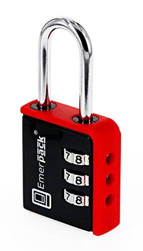 Candado de Combinacion Para Taquilla de Gimnasio Emerpack Varios Colores / Arco Largo / Candados de Seguridad Para Vestuario, Gym, Equipaje / Envio Rápido Desde España (Negro-Rojo) Combinación