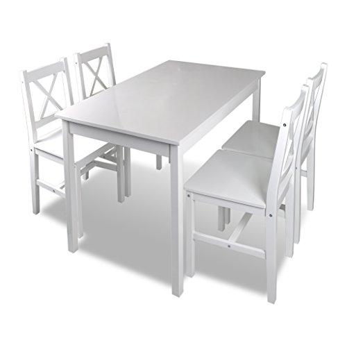 Festnight set di mobili in legno da pranzo tavolo rettangolare con 4 sedie schienale in legno da sala da pranzo per interno