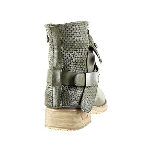 Angkorly - Scarpe Moda Stivaletti Scarponcini cavalier bi-materiale donna trapuntata nodo camouflage Tacco a blocco 3 CM Verde