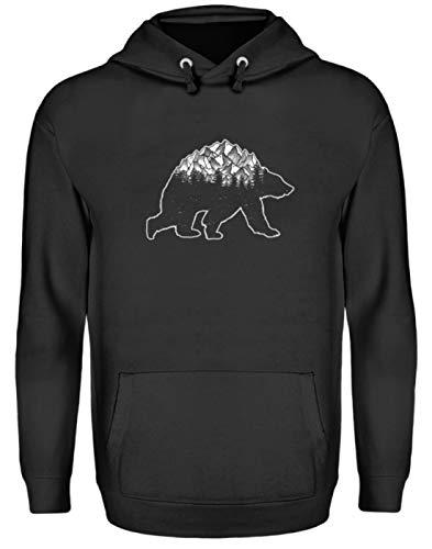 EBENBLATT Camiseta con diseño de Oso y Bosque de montañas, Disfraz para montañistas, Excursionistas, escaladores, Regalo - Sudadera Unisex con Capucha Negro Jet XXL