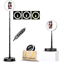 BNTTEAM Portable Folding 10 inch LED Ring Light Make Up Light 19 to 66 inch Height Tripod Stand for YouTube Video, Studio, Dimmable 3 Light Modes 11 Brightness Level, Easy to Carry Install(USB Plug)