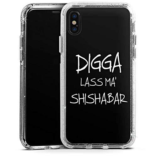 DeinDesign Apple iPhone XS Bumper Hülle Silber transparent Bumper Case Schutzhülle Glitzer Look Shisha Yallah
