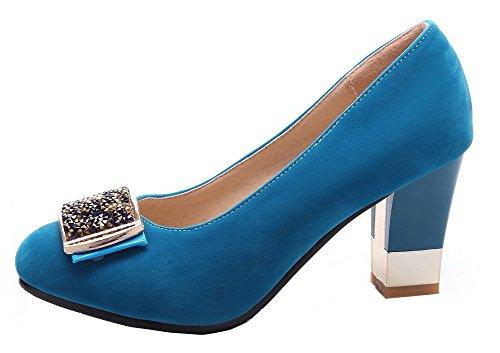 VogueZone009 Femme à Talon Haut Suédé Couleur Unie Tire Rond Chaussures Légeres Bleu