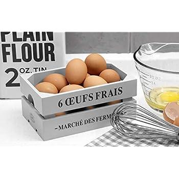 Eierkiste aus Holz in Wei/ß Eierkorb im Vintage-Stil
