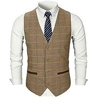 Hibote Top para Hombre Diseñado Casual Regular Fit Vestido Fiesta Moda Chaleco Chalecos Negocios