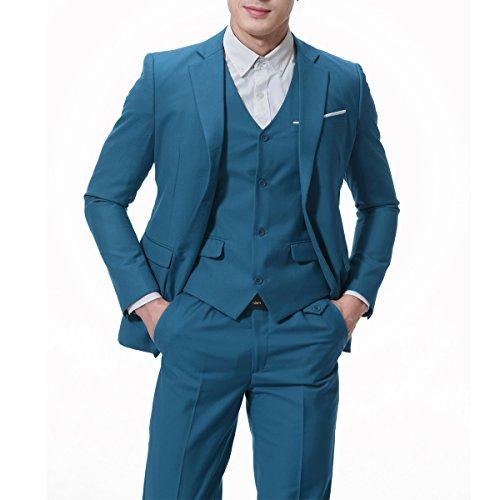 Men's Modern Fit 3-Piece Suit Blazer Jacket Tux Vest & Trousers Medium