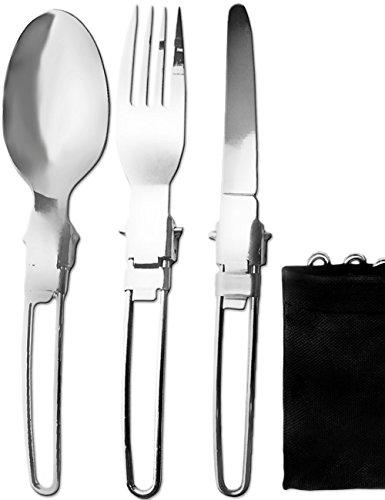 Outdoor Saxx, set di posate da viaggio pieghevoli per campeggio | coltello, forchetta, cucchiaio, custodia per il trasporto | compatto, leggero, piccolo, pieghevole