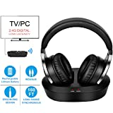 Wireless Headphones for TV Watching & PC Gaming with 2.4GHz Digital Transmitter Charging Dock, (3.5mm AUX, RCA) Plug & Play, No Delay, 100ft Long Range, 40hrs Battery
