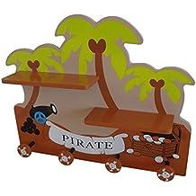 Bebe estilo pirata infantil de madera montado en la pared estante y perchero