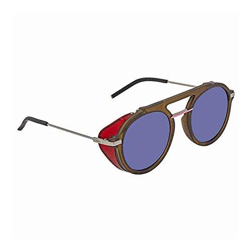 Fendi ff m0012/s ku 1ed, occhiali da sole uomo, verde (green/bl blue), 52
