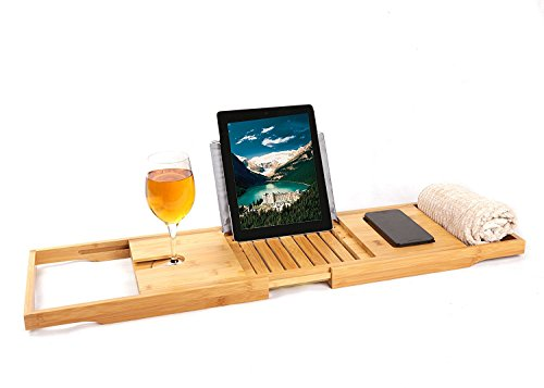 Descargar PDF Luxury Bamboo Bathtub Caddy Tray with Extending Sides ...