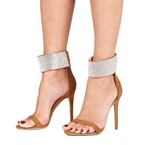Damen Open Toe Glitzer Sandalen High-Heels Stiletto Fellsamt mit Reißverschluss Braun