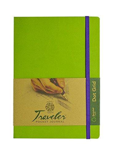 Pentalic Art Skizzenbuch für Reisende, gepunktet, säurefrei Punktraster 6-inch x 8-inch, Olive Green olivgrün -