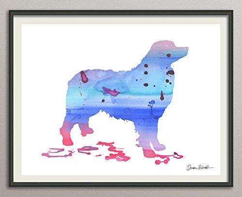 bernese mountain dog Rasse Hunde Hunderasse Fine Art Print Aquarell Silhouette Profil Poster Kunstdruck Plakat modern ungerahmt DIN A 4 Deko Wand Bild -