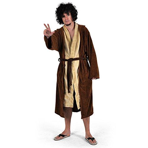 Star Wars - Jedi Meister Bademantel Fleece braun Robe Tunika Kapuze lizenziert (Kapuzen-robe Wars Star)