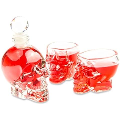 Set con bottiglia e bicchieri a forma di teschio, in vetro, 1