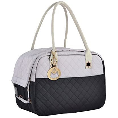 MG Collection Black/Gray Designer Inspired Stylish Quilted Soft Sided Travel Dog and Cat Pet Carrier Tote Hand Bag 1
