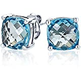 Bling Jewelry Dyed Blue Topaz Cushion Cut Square Stud Earrings Sterling Silver