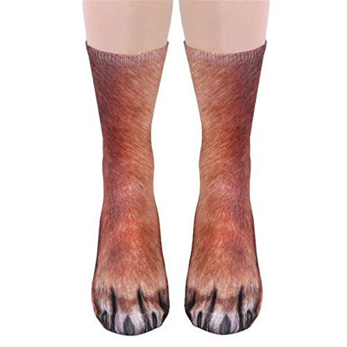 BURFLY BUFLY Socken 3D Print in Socken Unisex Erwachsene Tierpfote Crew Sock Sublimated Print Socken Fashion Neuheit Medium Socken (One Size, C) (Herren Low-cut-socken 100 Baumwolle)