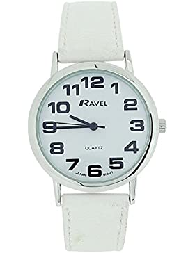 Ravel Damen Riesenuhr weißes Zifferbl. & schw. PU Schnallenarmband R0105.13.4
