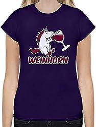 Einhörner - Weinhorn - XL - Lila - L191 - Tailliertes Tshirt für Damen und Frauen T-Shirt