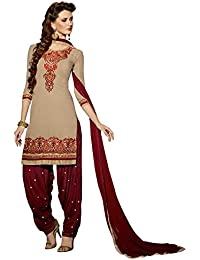 Radhey ArtsNew Designer Maroon And Cream Embroidered Georgette Dress Material With Matching Dupatta