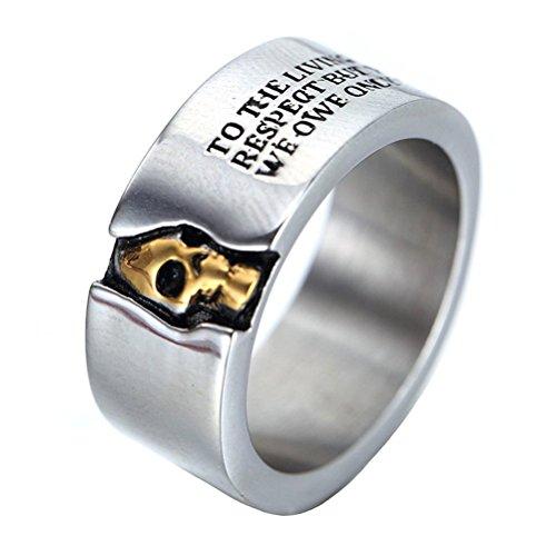 HIJONES Herren Edelstahl Cool Rock Halbe Gesicht Schädel Biker Ring Mit Zitaten 10 mm Breite Band Größe 65