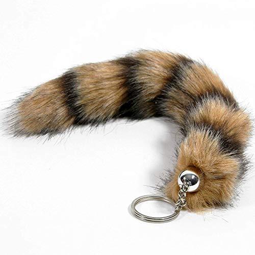 GYD Fuchsschwanz - Schlüsselanhänger/Anhänger aus Kunsthaar (gestreift) - ca. 25 cm Länge (verkauft per DHL)