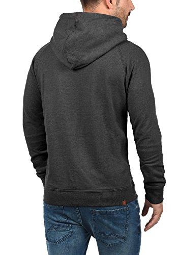 BLEND 703585ME Sales Herren Kapuzenpullover Hoodie Sweatshirt mit Kapuze und optionalem Teddy-Futter sowie Crossover-Kragen aus hochwertiger Baumwollmischung Meliert Charcoal (70818)