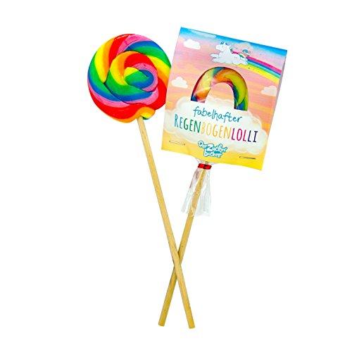 Fabelhafter Regenbogenlolli - kunterbunter Lolli, Farbenspaß zum Lutschen mit süßem Einhorngeschmack, 50 Gramm Naschfreude in tollem Einhorn-Design (Lutscher Einhorn)