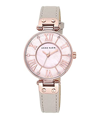 Anne Klein Women's The Signature Quartz Watch with Mother of Pearl Dial Analogue Display and Grey Leather Strap 10/N9918RGTP - Oro Grigio Dial