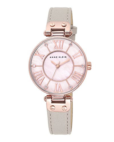 anne-klein-womens-the-signature-quartz-watch-with-mother-of-pearl-dial-analogue-display-and-grey-lea
