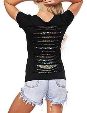 SIMYJOY Mujer Ahuecar Camiseta Casual Elasticidad Top Cool Starry Sky T-Shirt Manga Corta Top Para Fiesta y Cóctel