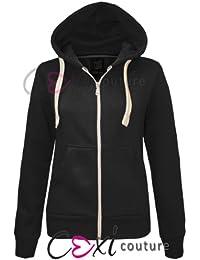Cexi Couture Veste à capuche en polaire pour femme Uni  - Noir - Noir - Tailles UK : 6 (XS) / 8 (S/M) / 10 (S/M) / 12 (M/L) / 14 (L/XL)