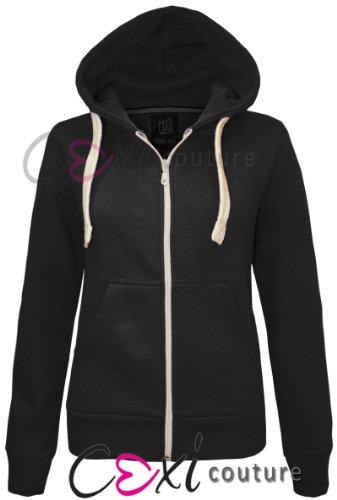 CEXI COUTURE Damen Kapuzen Sweatshirt Kapuzenpullover mit Reißverschluss Fleece Jacke - Schwarz, EU 36 (Couture Jacke Blazer)