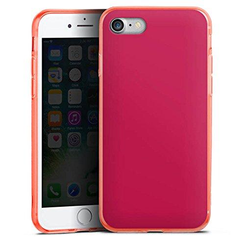 Apple iPhone 8 Silikon Hülle Case Schutzhülle Bordeaux Rot Red Silikon Colour Case neon-orange
