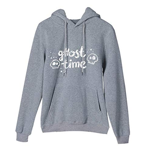 Comic Kostüm Halloween Book Girl - GOKOMO Halloween Frauen Damen Langarm T-Shirt Bluse Tops Kapuze Sweatshirt Hoodie Sweatshirt Jacken Damen Schwarz Halloween-Ghost Printed mit Kapuze(Grau-c,Medium)