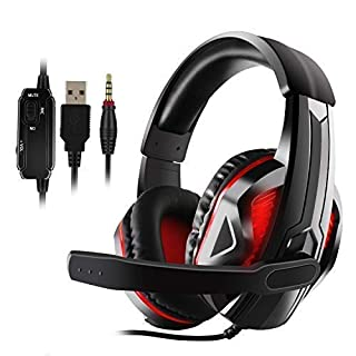 Diswoe LED Stereo Gaming Headset for PS4, PC, Xbox One Controller, Noise Cancelling Over Ear Headphones with Mic, LED Light, Bass Surround, Soft Memory Earmuffs for Laptop Mac Nintendo Switch Games