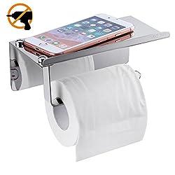 XIAOYAO Toilettenpapierhalter Ohne Bohren mit Ablage, Klopapier Halterung Selbstklebend Edelstahl Gebürstet (Gebürstet)