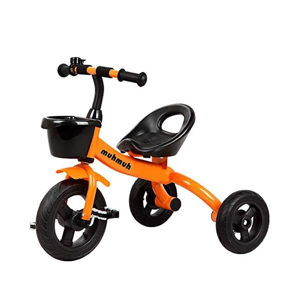 TX Baby Tricycle 3-6 Years Old Children Boys Girls 3 PU Wheel Toddler Pedal,Orange TX Security sponges, environmental protection, protection of baby riding safety. Natural rubber handle grip comfortable, non-slip texture. Pre-basket, carefully intimate care. 1