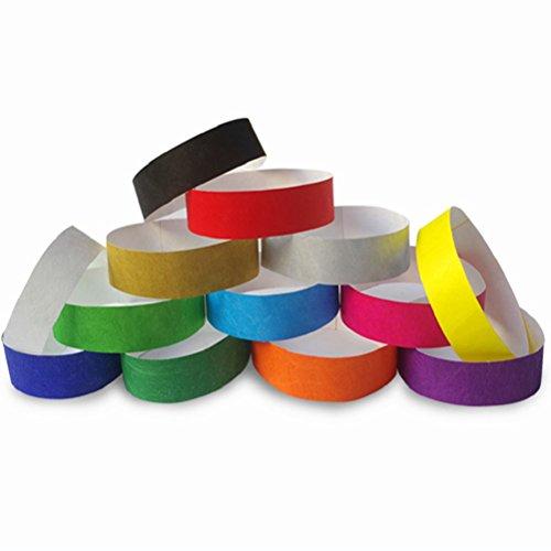 TOYMYTOY 500 Packs Tyvek Wristbands Waterproof Paper Bracelets for Events Nightclubs Waterparks  Random Color